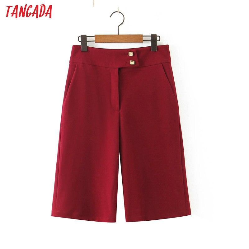 Tangada 2020 Women Red Shorts Button Decorate Zipper Pockets Female Office Lady Elegant Work Shorts Pantalones SL278