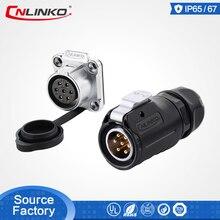 Cnlinko lp series m20 7 pinos 20a 500v, conector circular preto à prova dágua para conectores de sinal, equipamento industrial