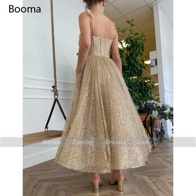 Booma Gold Glitter Tulle Prom Dresses Beaded Straps Tea-Length Prom Gowns Pockets A-Line Short Formal Party Dresses Plus Size 2