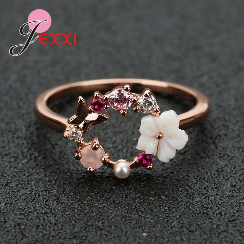 925 Sterling Silver Cubic Zirconia Flower Finger Rings Top Quality Women Girls Fashion Statement Wedding Bands Big Sale