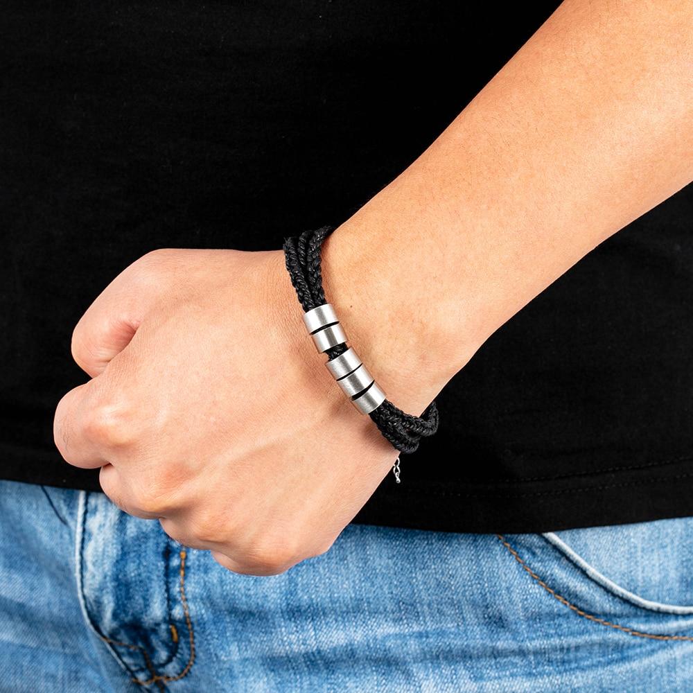 Personalized Name Bracelet for Men Custom Engraving Stainless Steel 5 Beads Braided Rope Wrist Bracelets & Bangles Adjustable