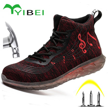 Work-Boots Safety-Shoes Wear-Resistant High-Top Men's Fashion Anti-Smash And Pu Symbol