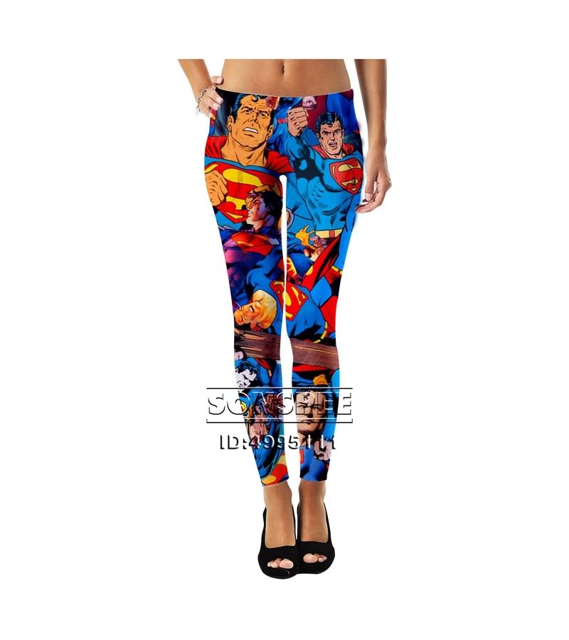 SONSPEE 3D Printed New Superhero Batman Superman The Flash  Girls Ladies Women Mid-waist Leggings Sexy Ankle Pants A1078