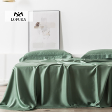 Lofuka Luxury Green 100% Silk Flat Sheet Nature Silk Beauty Queen King Bed Sheet Fitted Sheet Pillowcase For Women Men Kids lofuka women light purple 100% silk flat sheet nature silk beauty queen king bed sheet fitted sheet pillowcase for deep sleep