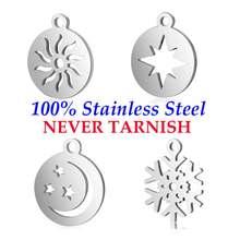 10 stück Sun Star Schneeflocke Mond Charme Großhandel 100% Edelstahl AAAAA Qualität Anhänger Nie Trüben