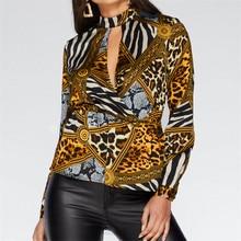 Animal Print Blouse Shirt Women Casual Leopard Chiffon Blouse Cut Out V-Neck Blouses Loose Ladies Tops Blusas Mujer De Moda 2019