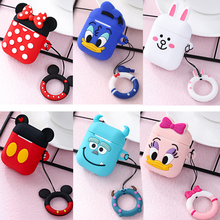 For AirPods 2 Case Cute Cartoon Bear Silicon Earphone Case with Ring Strap Cover for Apple Air Pods pro Case Fundas iphone xr 3d lucky rat cartoon bluetooth earphone case for airpods pro cute accessories protective cover for apple air pods 3 silicone