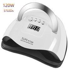 SUN X7 Max 120 lampe à UV LED W – sèche-vernis à ongles, lampe puissante à 57 LED, séchage rapide, 10S 30S 60S 99S