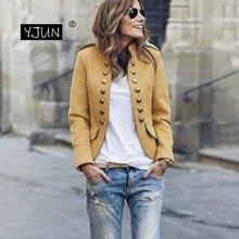Women Short Blazer Jacket Autumn Winter Long Sleeve Suits Bu