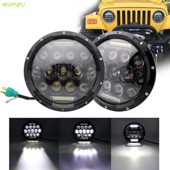 "2x 7"" Round LED Headlight Bulb75W 7 Inch Motorcycle LED Headlights DRL Driving Light Headlamp"