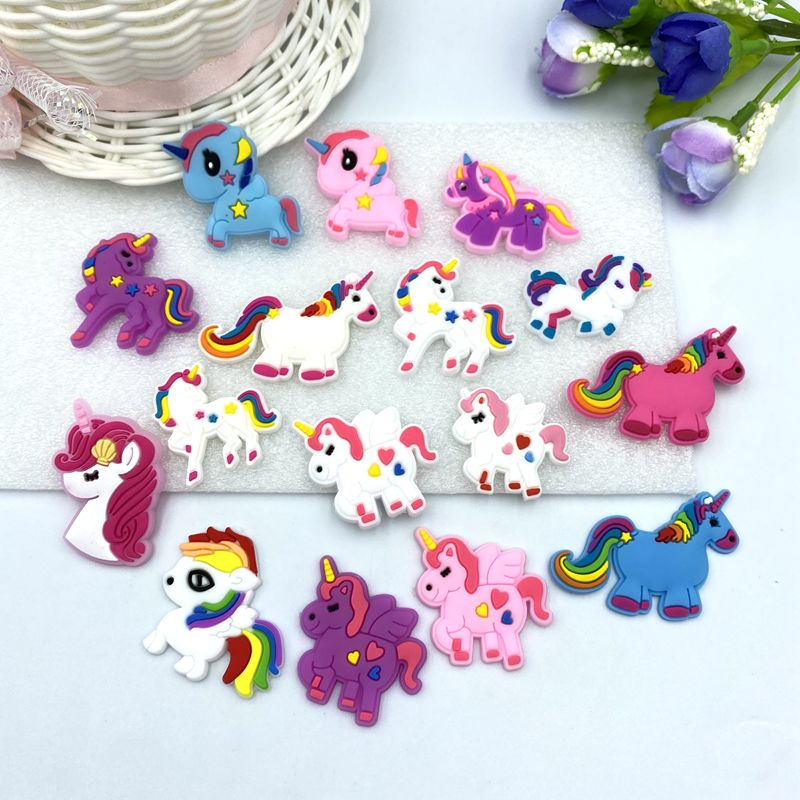 10PCS Lovely Unicorn Cabochons Soft Material  Hair Accessories Gril Hair Bow Center Crafts Making Headwrap DIY B62