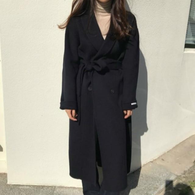 Korea Women Winter Yellow Long Cashmere Coat Slim Waist Elegant Overcoat with Waistbelt Pocket Loose Outerwear Jacket 2
