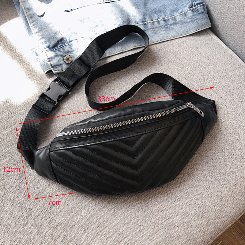 ZYWLBXMH Solid Color Waist Packs Waterproof PU Leather Waist Bag Fashion Belt Bag Zipper Fanny Pack Women's Chest Bag Banana Bag