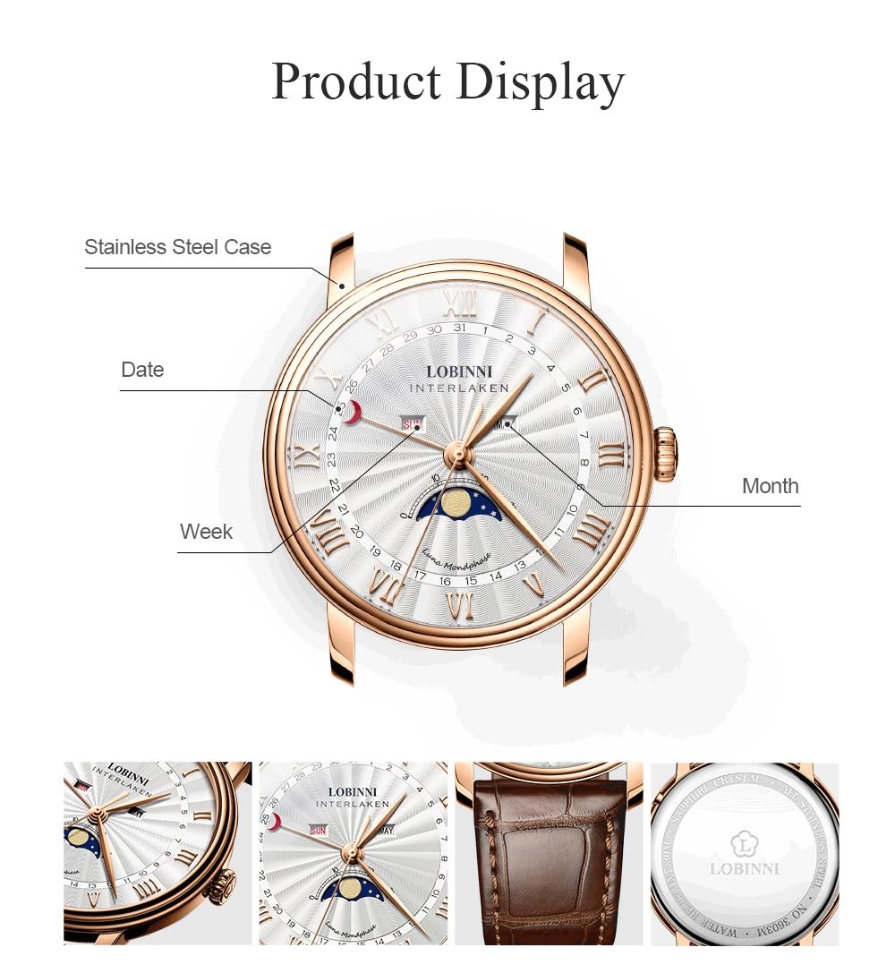 H37b85a24763f4c9a9ca8dd5bcfa66ee8N Switzerland LOBINNI Men Luxury Brand Quartz Watch Men Sapphire Waterproof Moon Phase Japan Quartz Movement Male Wristwacth