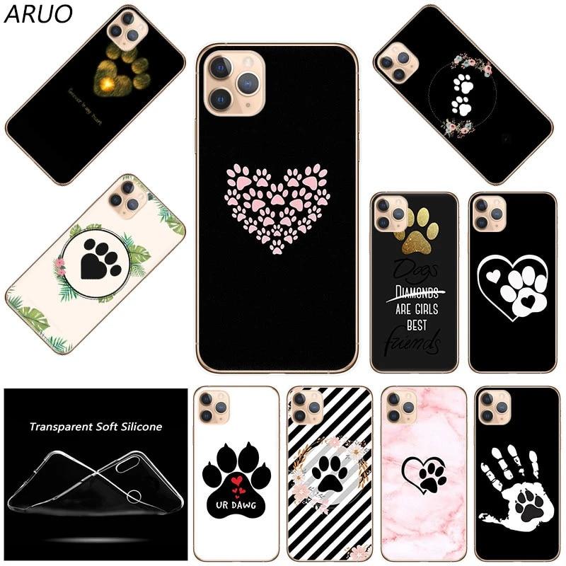 Cute Dog Paw Print Soft TPU Silicone Phone Case For iPhone 12 mini 11 Pro XS Max 7 8 6 6s Plus SE 2020 X XR 5 5s Fashion Cover