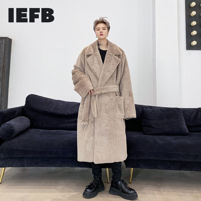 IEFB Winter 2020 solid color metal pendant sashes fuax fur men's thick mid length warm long coat lapel clothes for male 9Y4460