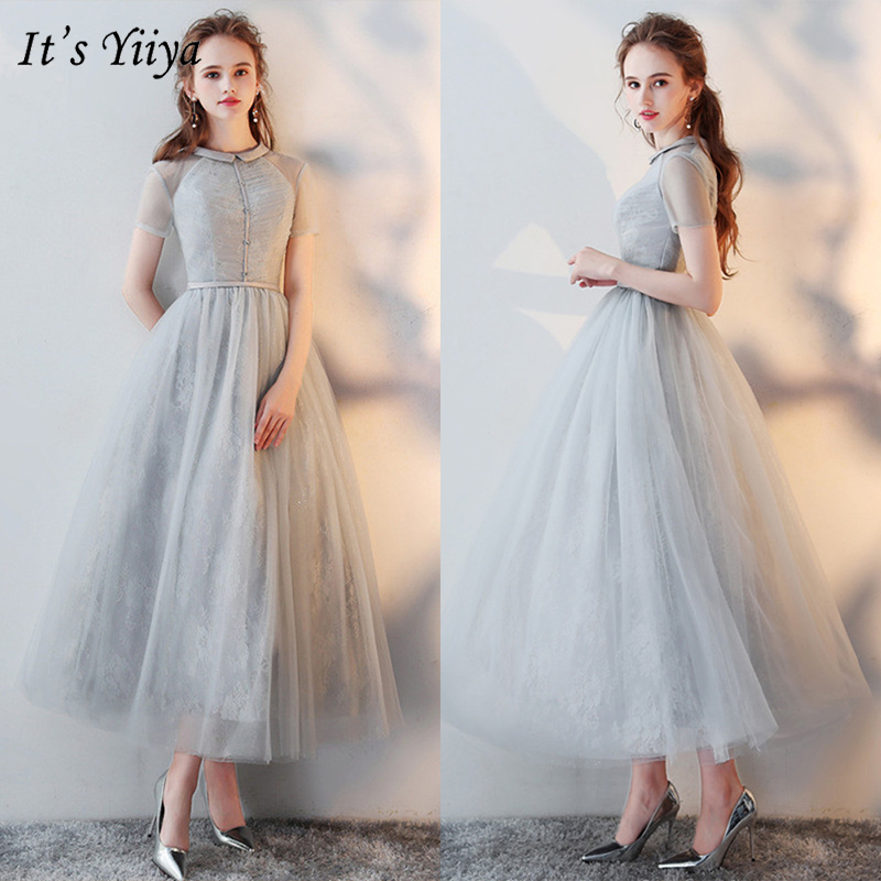 It's YiiYa Evening Dress 2019 Gray Fashion O-Neck Short Sleeve Formal Dresses Lace Zipper Women Party Night Robe De Soiree LX430