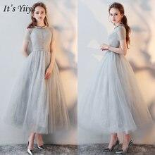 Женское вечернее платье на молнии it's yiiya серое кружевное