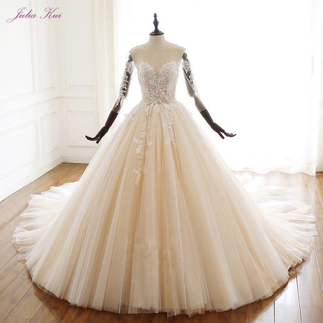 Julia Kui uroda aplikacje przepiękna suknia balowa suknia ślubna w stylu Vintage koronki z kryształkami trzy czwarte zasznurować suknie ślubne