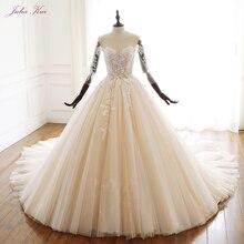 ג וליה Kui יופי אפליקציות מתוקה כדור שמלת חתונת שמלת וינטג חרוזים תחרה שלושה רבעון תחרה עד שמלות כלה