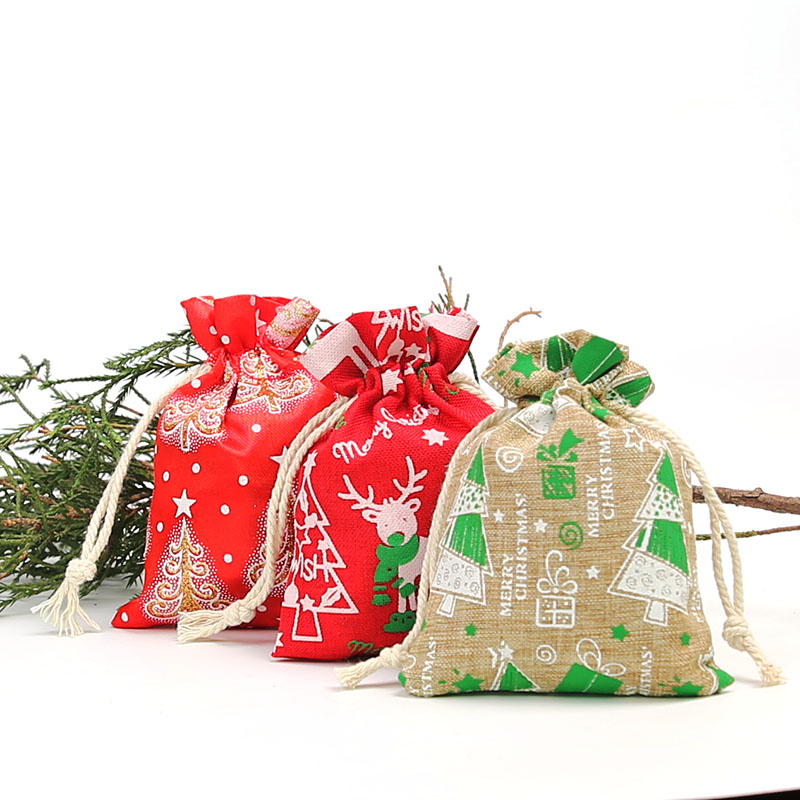 9 * 12Cm Christmas Tree Printed Linen Drawstring Bag Jewelry Candy Christmas Day Decoration Bag 20pcs