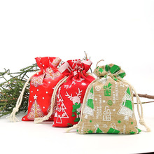9 * 12Cm Christmas Tree Printed Linen Drawstring Bag Jewelry Candy Day Decoration 20pcs