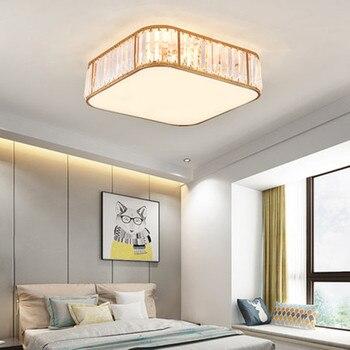 IKVVT Postmodern Minimalist Bedroom Lamp Warm And Romantic Room Study Led Ceiling Lamp Round Light Luxury Crystal Balcony Lamp