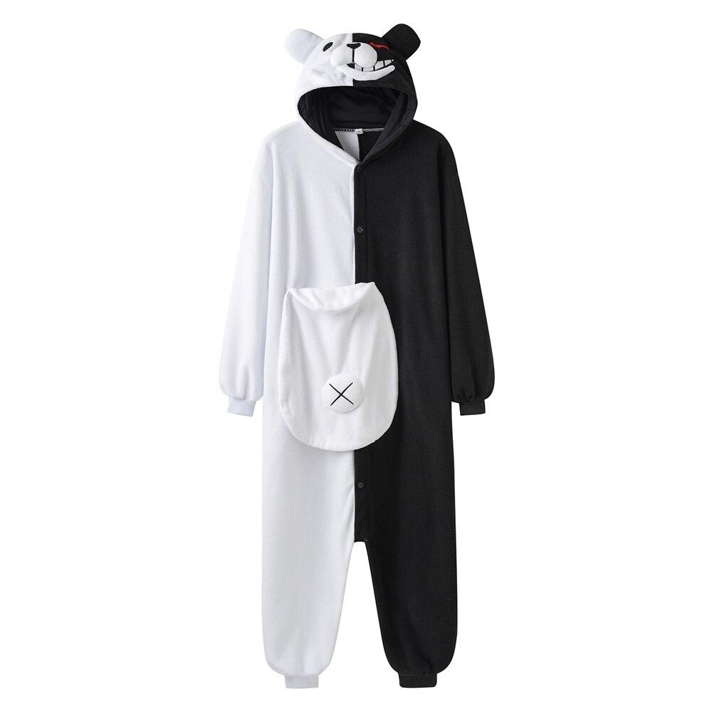 YESKIGU Monokuma Kigurumis Pajama Adult Onesie Anime Bear Jumpsuit Black White Animal Pajamas Women Halloween Party Suit Overall