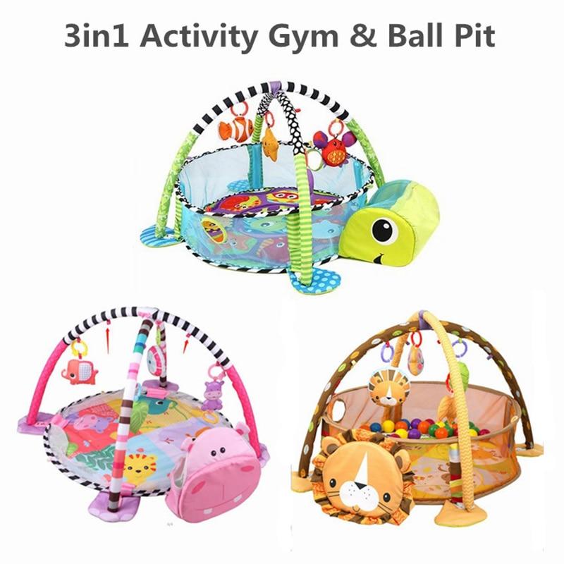3 en 1 bébé tapis de jeu rond tortue Lion ramper couverture infantile tapis de jeu tapis de jeu enfants activité bébé Gym pliant Tapete Infantil