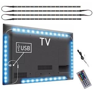 Image 1 - DC 5V USB テレビライトコンピュータ画面バックバイアステープライト SMD 5050 RGB LED テレビバック照明 44key 赤外線リモコン