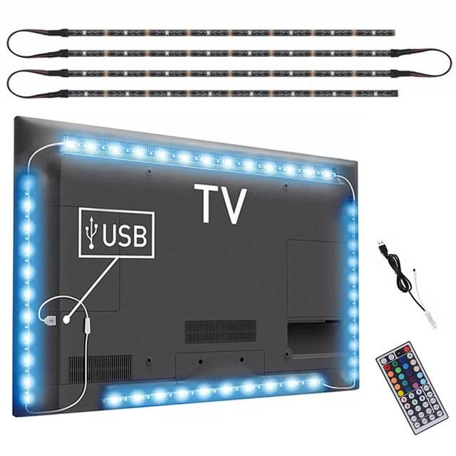 DC 5V USB TV lumière écran dordinateur lumière de biais arrière SMD 5050 RGB LED TV rétro éclairage avec télécommande 44key IR