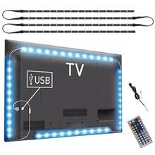 Luz de TV USB de 5V CC para pantalla de ordenador cinta de luz Bias trasera SMD 5050 RGB, iluminación trasera de TV LED con mando a distancia IR de 44 teclas