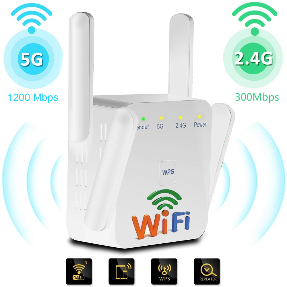 Wifi Repeater Dual Band 2.4G/5G Wifi Signal Booster 1200Mpbs Long Range Wifi Amplifier Internet Signal Wireless Repiter For Home