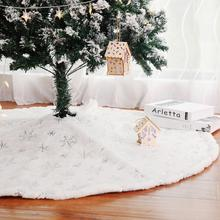 New Year White Plush Christmas Tree Skirt Aprons Carpet Decorations Xmas Home Decor Merry