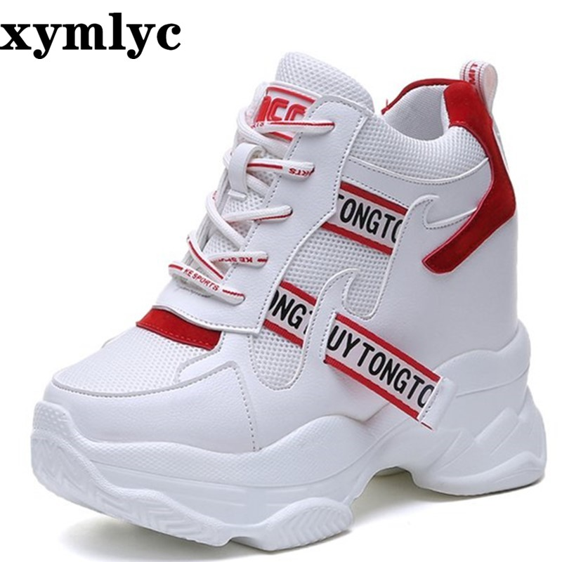2019 Spring Autumn Fashion Platform Shoes With Buckle Casual Sweet Sports Shoes Shallow Mouth Femmes Height Increase Shoes White