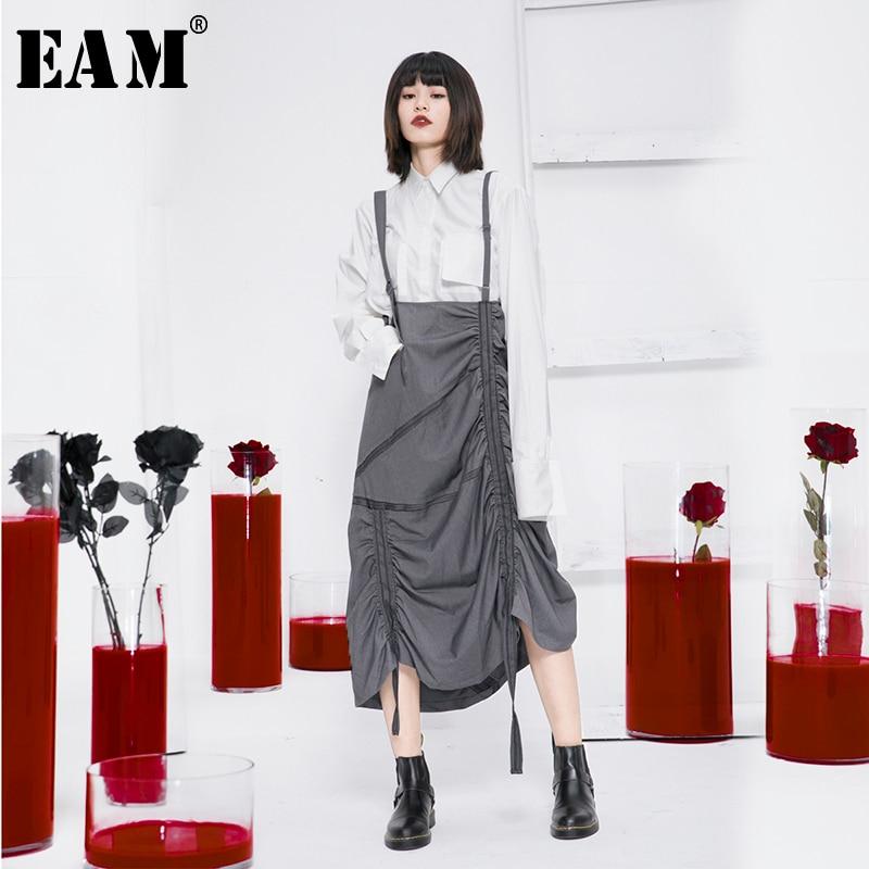 [EAM] High Waist Gray Asymmetrical Pleated Split Temperament Half-body Skirt Women Fashion Tide New Spring Autumn 2020 1N695