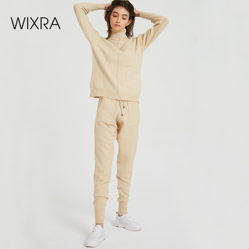 Wixra frauen Pullover Anzüge und Sets Rollkragen Langarm Gestrickte Pullover + Taschen Lange Hosen 2PCS Sets Winter kostüm