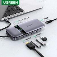 Ugreen-concentrador de red USB tipo C, 3,1 a M.2, b-key, HDMI, 4K, 60Hz, 10Gbps, M.2, funda SSD, divisor de concentrador USB para MacBook Pro Air iPad