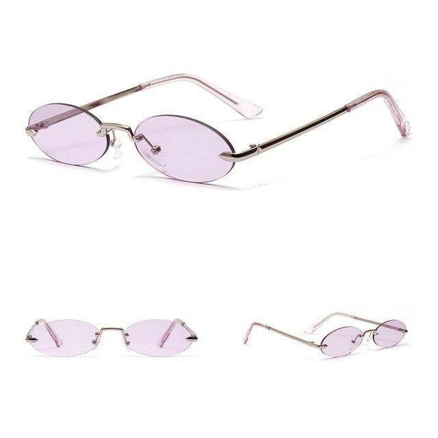 Retro Oval Sunglasses Women Frameless Gray Red Clear Lens Rimless Sun Glasses For Women Uv400 6