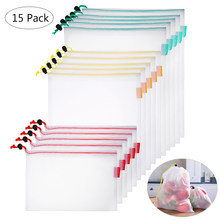BESTONZON 15PCS Travel Pouches Organizers Drawstring Bags Packing Bags for Fruits Food(China)