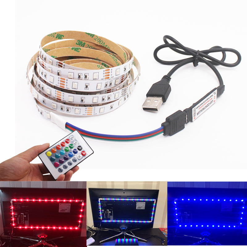 3A Battery USB Mini 3key DC5V LED Strip RGB 50CM 1M 2M 3M 4M 5M 60 LEDs/m No Waterproof 3528 TV Backlight Lamp Tape Diode Ribbon