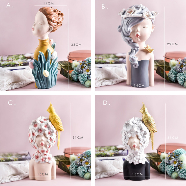 2020 New Arrial Nordic Ins Home Decorations People Statues Resin Figurines Flower Woman Sculpture Living Room Decoration Crafts 5