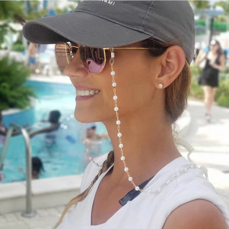 2020 New Fashion Pearls Reading Glasses Chain For Women Metal Sunglasses Cords Casual Pearls Beaded Eyeglass Chain Accessories