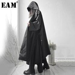 [EAM] Свободная Черная куртка с разрезом, большой размер, с капюшоном, с длинным рукавом, женская мода, весна 2020 1S662