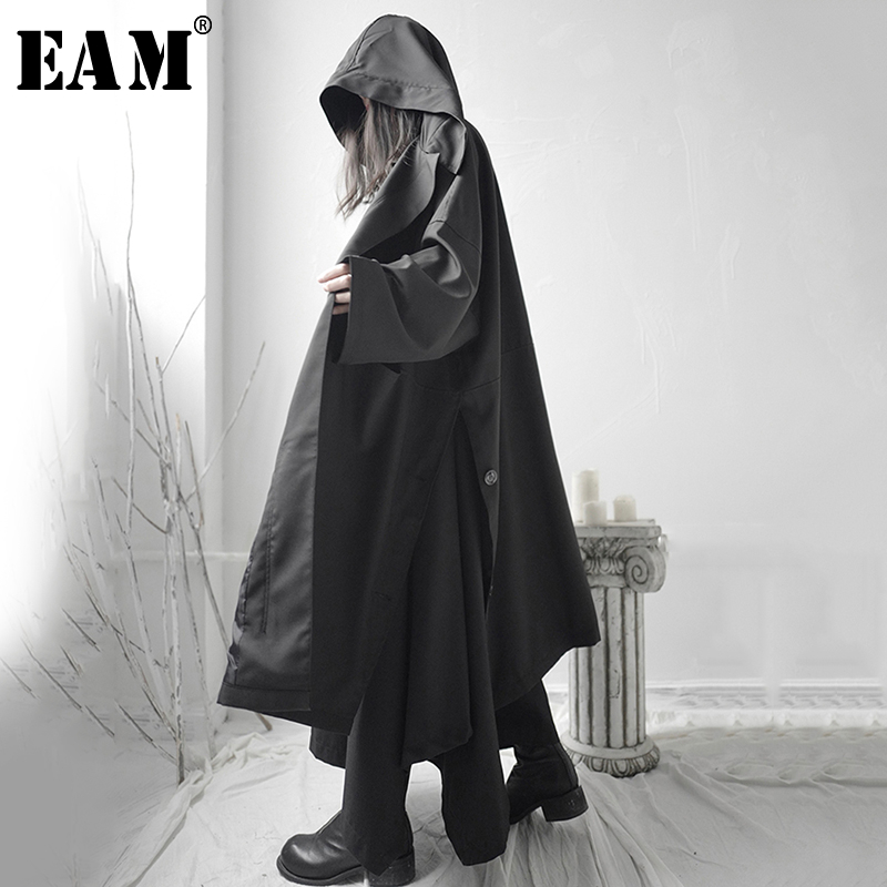 [EAM] Loose Fit Black Vent Split Joint Big Size Long Jacket New Hooded Long Sleeve Women Coat Fashion Tide Spring 2020 1S662