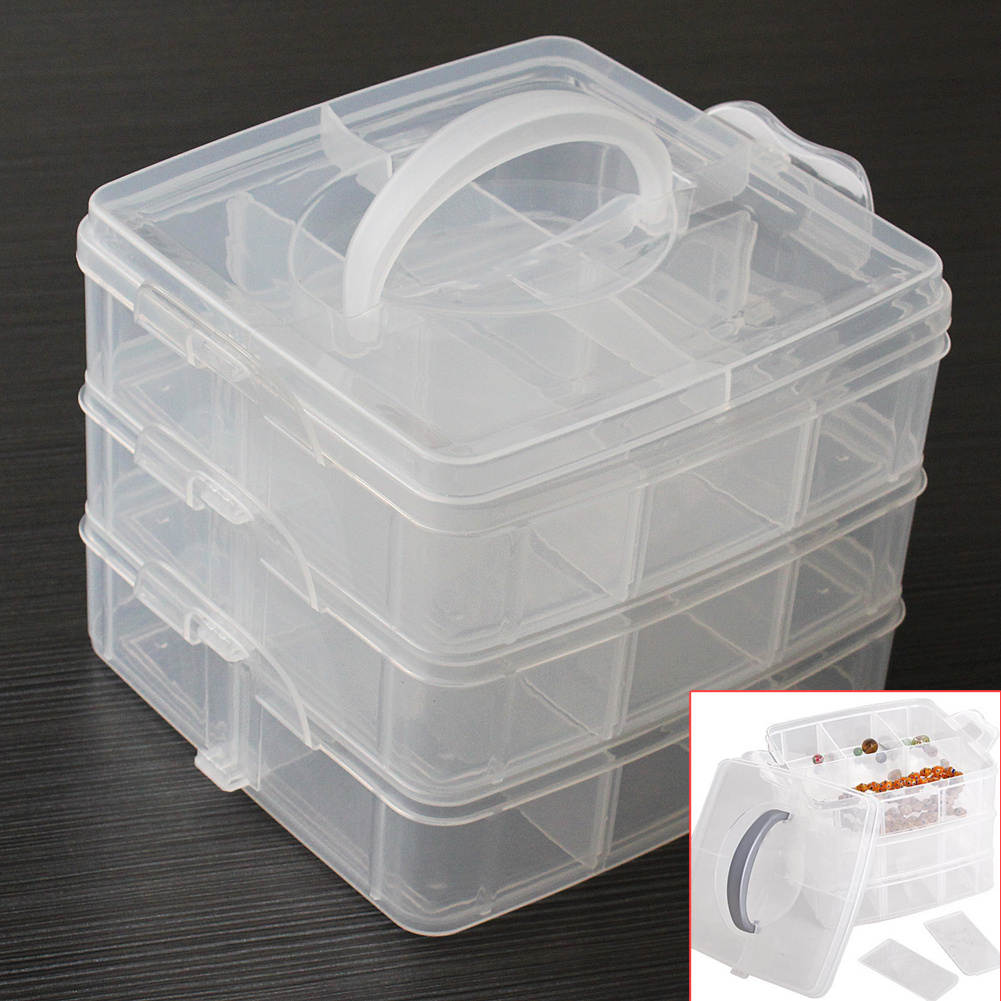 Detachable Adjustable 3-Layer Cosmetics Jewelry Container Nail Art Tool Makeup Storage Box Dressing Table Accessories
