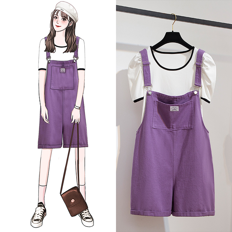 Strap Female Summer Loose Jeans Jumpsuits Puff Sleeve T-Shirt Two Piece Sets Casual Playsuits