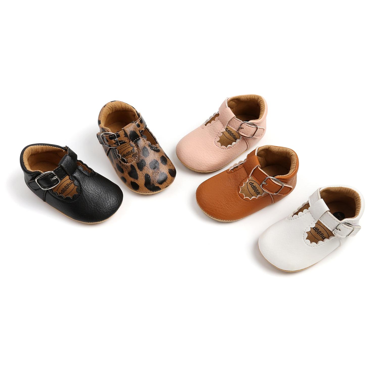 Infants Girl Anti Slip Leather Shoes, Walking Decoration, Anti-Slip Ruffle Hem Birthday Gift Sneaker Leopard / Solid for 0-18M
