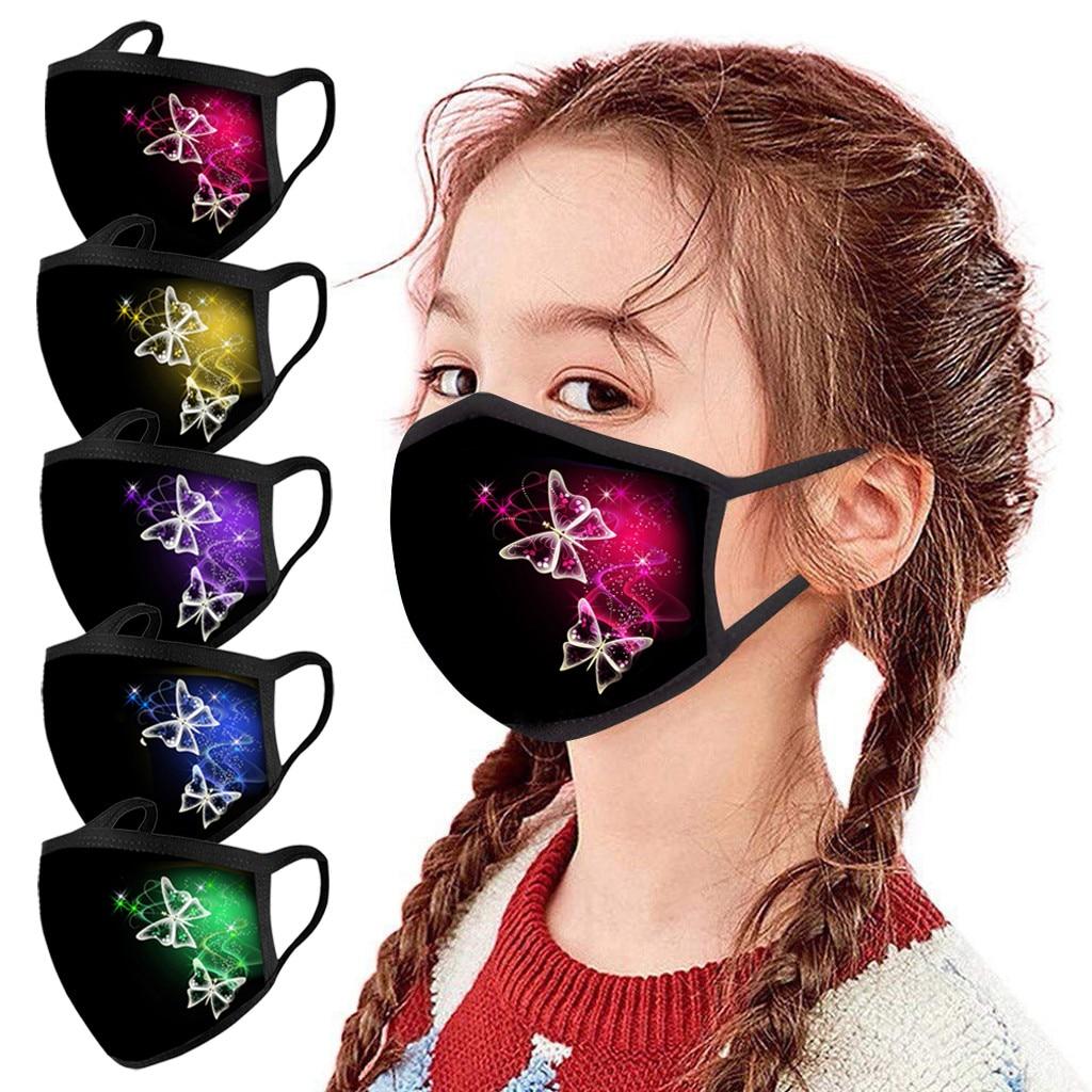 5 шт. Детские уличные хлопковые маски для рта Моющиеся Многоразовые маски для лица с фильтром из активированного угля черная Тканевая маска ...