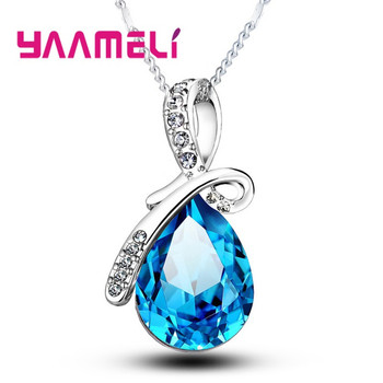 Big Water Drop Pendant Charm Necklaces 925 Sterling Silver Long Chain Crystal Necklace Pendants Clear AAA CZ Jewelry